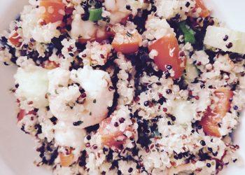 Quinoa-Gemüsepfanne mit Garnelen